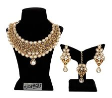 Indian Necklace Jewelry Gold Plated Wedding Bollywood Bridal Fashion Earring Set