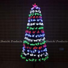 LED Pre Lit Christmas Tree Fiber Optic Xmas Lights Up Home Decor 5ft 150CM UK