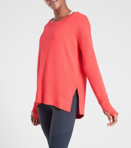 NEW Athleta Coaster Luxe Sweatshirt SIZE XLT XL TALL, CORAL #870422 NWOT