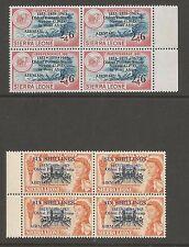 SIERRA LEONE SG281b&283b 1963 POSTAL COM.AIRMAIL O/PRINTS MNH  MARG BLOCKS C£58+
