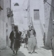 Camel Train in Bethlehem, Circa 1910's, Antique Magic Lantern Glass Slide