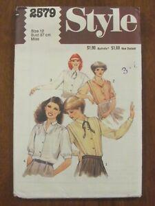 STYLE PATTERN - 2579 LADIES BLOUSE SHIRT SHOULDER PLEATS NECK TIE SIZE 12 UNCUT