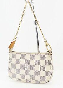 Authentic LOUIS VUITTON Mini Accessory Pouch Damier Azur Hand Bag #38943