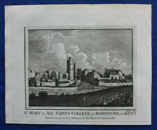 Original antique print ST MARY & ALL SAINTS COLLEGE, MAIDSTONE, Boswell, 1786