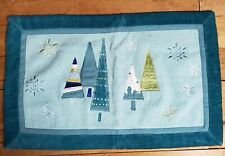 Blue Turquoise Christmas Rug Embroidered Snowflakes Velvety edge applique Trees
