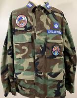 Vtg 80s Woodland Camo Civil Air Patrol Coat Hot Weather Sz L Reg Combat Pattern
