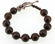 Retired Silpada Sterling Silver 12mm Bronzite Bead Floral Toggle Bracelet B1365