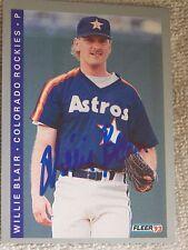 Willie Blair Signed 1993 Fleer Auto Card Houston Astros