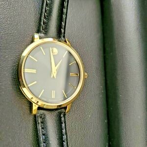 Movado Ultra Slim Women Watch Black Dial Black Leather Band 28mm