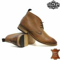 Mens Leather Smart Casual Formal Lace Up Chukka Walking Ankle Work Boots Shoes