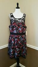 $99 Modcloth Soiree Stunner BB Dakota 16 Black Lace Floral Print Dress Retro