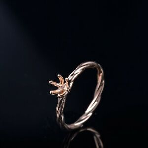 Round 5.0MM/0.5CT Ring Semi Mount Solitaire Twist Engagement Solid 14k Rose Gold
