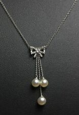 Delicate 18ct white gold diamond bow pearl drop necklace 15 inch chain