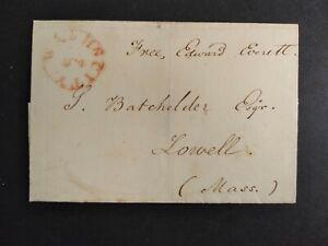 Free Frank: Edward Everett 1827 Stampless Cover, Massachusetts Whig