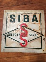 SIBA Select Sires Embossed Sign Farm Steer Cattle Beef Cows Cowboy 1967 Scioto