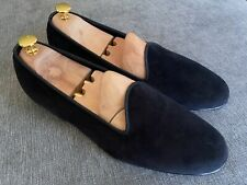 Edward Green Albert Black Velvet Slippers Shoes Loafers UK9.5 10 Last E389