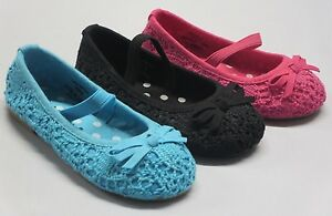 Girl Crochet Shoes Canvas Shoes (masara) YOUTH Black Fuchsia Blue