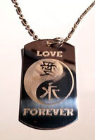 Chinese Calligraphy Love Forever YIN Yang Dog Tag Metal Chain Necklace Jewelry