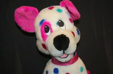 """Polka Dot Puppy Dog White Pink Ears Tail Plush 18"""" ACE Lovey Toy USA"""