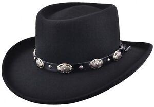 Mens Fedora Hat 100% Wool Felt Handmade Crushable Cowboy Gambler Hat In Black