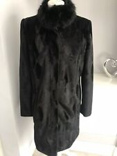 Oasis Black Velvet Faux Fur Collar Coat Size M 12