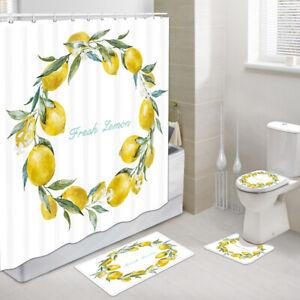 Lemon wreath Shower Curtain Toilet Cover Rug Mat Contour Rug Set