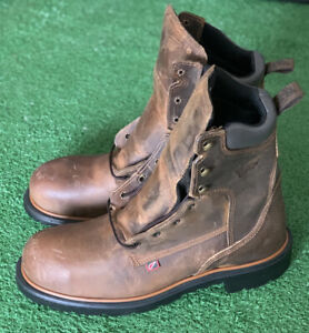 Red Wing Heavy-Duty Steel Safety Toe Brown Leather Work Boots 2203 Men Size 10.5