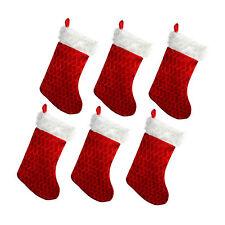 Fluffy Plush Crushed Velvet Effect Novelty Christmas Xmas Stocking - 6 Pack