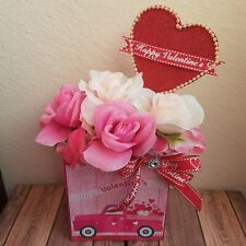 Red & White Pink  Artificial Valentines Day  Flower Arrangement Heart Love Gift