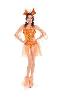 Womens 4PC SET Sexy Goldfish Mermaid Halloween Costume Dress Headband Fins [ M ]