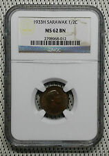 *NGC MS62* 1933H - Sarawak - 1/2 Cent Charles Vyner Brooke #CAFF