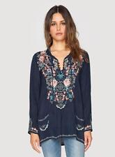 JOHNNY WAS Blue Embroidered Mosaic Tile Long Sleeve Boho Tunic Blouse Top S