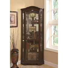 Rich Brown Curio Cabinet Living Dining Room Corner China Accent Glass Display