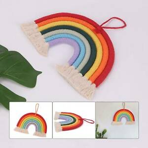 Hand Woven Rainbow Macrame Tapestry Wall Hanging Nursery Room Cloud Decor UK