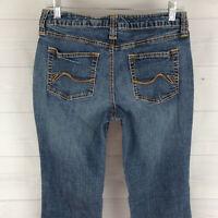 Ana Womens Size 8 Stretch Blue Medium Wash Mid Rise Detailed Bootcut Denim Jeans