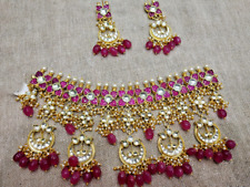 Indian Bollywood Pachi Kundan Necklace Set Jewelry Bridal Polki Real Gold Pearl