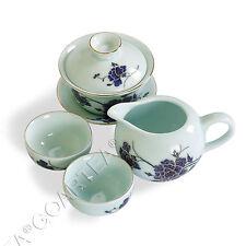 4pcs Hand Paint Porcelain Peony Gaiwan teacup Chinese GongFu Tea Set Teaset