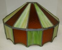 Vintage Stained Slag Glass Green and Amber Hanging Light Shade 16""