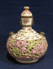 Fischer Budapest Reticulated Covered Jar with Floral Design