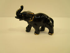 Exotic mid century Black Porcelain Elephant figurine w/ gold Tone Detail Japan