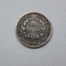 France / Demi franc Napoleon Ier 1808 B, rare état! TTB