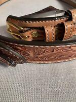 NEW Bull Hide Belt Natural Stitched Oak Leaf Ranger Belt Free Shipping