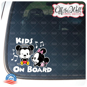 """Mickey and Minnie Mouse Cuties""""Kids On Board"""" Sign Vinyl Decal Sticker #PDCV"""