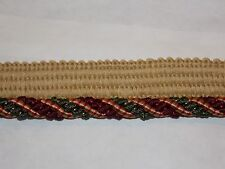 "NEW DECORATIVE 5/16"" TWISTED CORD TRIM W/ KNITTED LIP GREEN & BURGUNDY 27 YARDS"