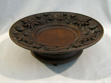 Antique Black Forest Carved Music Box Pedestal Bowl - Plays