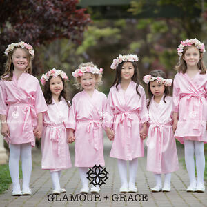 LIGHT PINK Children's kids flower girl satin dressing gown robe bridesmaid bride