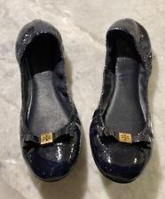 Tory Burch Ballet Flats Size 9 NAVY patent leather gold logo Good Shape!