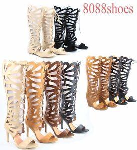 Women's  Lace Up Open Toe Gladiator High Heel Wedge Flat Sandal Size 5.5 - 10