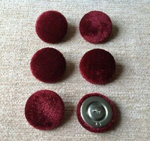 Wine Pastiche Crushed Velvet 45L/28mm Upholstery Loop Back Buttons Dark Red