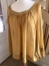 NEXT Size 18 Mustard Yellow Floaty Slightly Sheer Tunic Blouse top